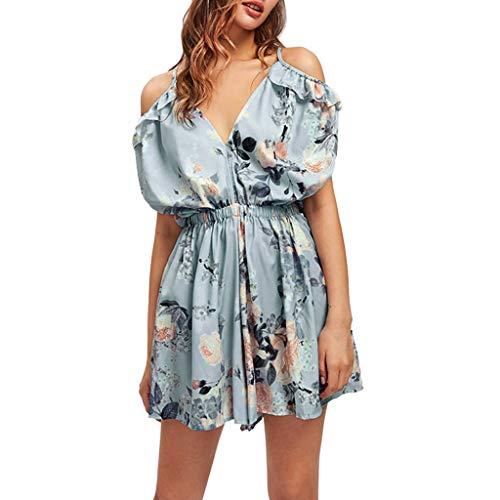 SHE.White Damen Boho Ärmellos Sommerkleid Strandkleid Casual Mini Schulter Das Neue Overall Playsuit (Pokemon Strampelanzug Kostüm)