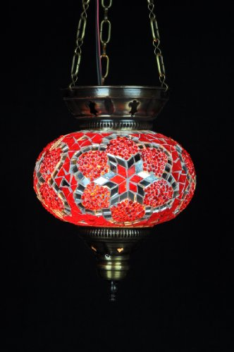 Oval Large Mosaic Hanging Lamp - Red