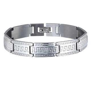 Herren-Armband Manschetten-Armband Edelstahl griechische Gravur silberfarben Das ideale Geschenk für ihn. Ausgezeichnetes Preis-Leistungs-Verhältnis.