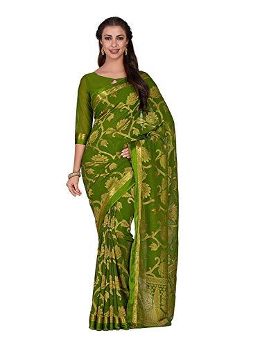 Art Chiffon Saree Kanjivarm Pattu Style with Running Blouse Color: Green Olive Green Silk Saree