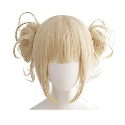 Yiyu 1pc Damenperücke Cosplay Perücke in Pferdeschwanz Kurzes Haar, Mein Held College Anime Charakter Cosplay gelb-blond