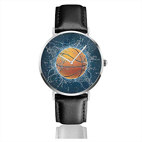 Basketballkugel Auf Wasser. Herren Lederarmband Uhren Wrist Casual Watch