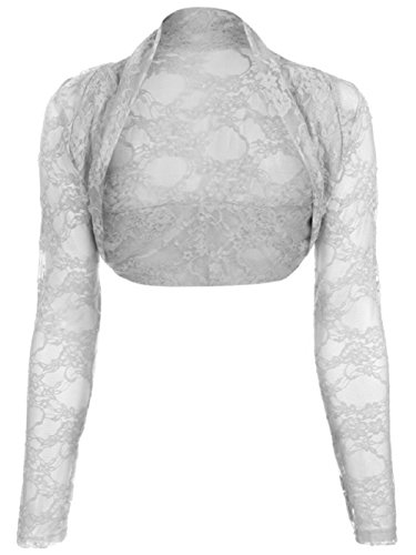 Ladies Girls Cropped Lace Bolero Shrug Size EUR 36-44 (Onesize (EUR 36-42), Grau) (Grau Achselzucken)