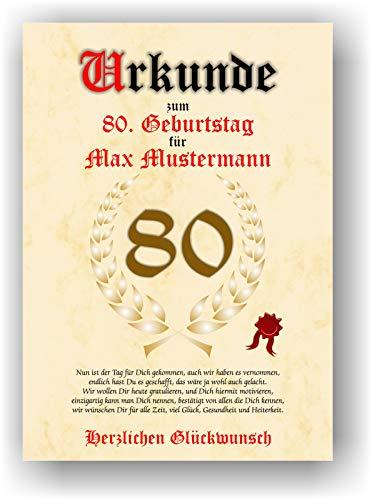 Urkunde zum 80. Geburtstag - Glückwunsch Geschenkurkunde personalisiertes Geschenk mit Name Gedicht und Spruch Karte Präsent Geschenkidee Mann Frau DIN A4