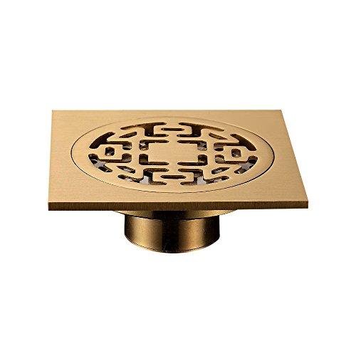 Zhi Jin 1Messing eckig Dusche Bodenablauf Sieb Drainer Netz mit Bezug abnehmbar Bad Küche kupfer gebürstet Single-use (Blatt Sealer)
