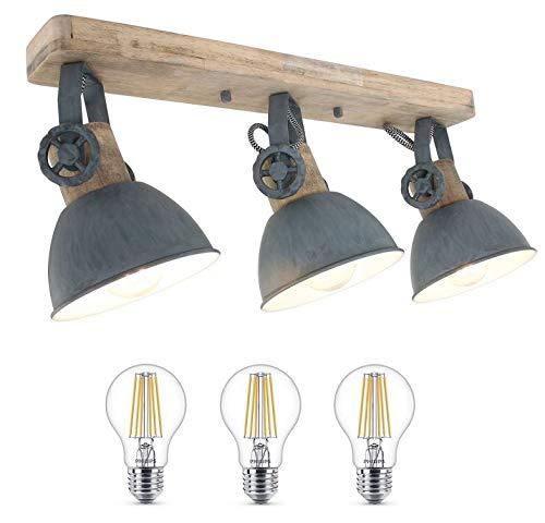 STEINHAUER 2133GR Strahler Deckenlampe Vintage Industrie Lampe Wandleuchte 3fl inkl. 7 Watt Filament Edison Vintage Led Lampe