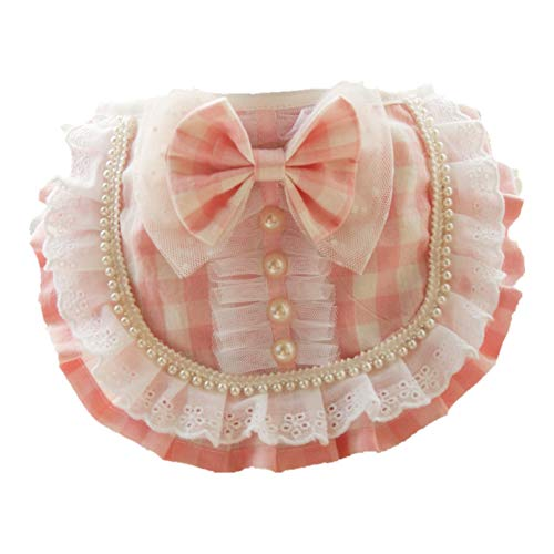 EFINNY Haustiere Kragen Pink Plaid Bandanas Bead Decor Hemdkragen für Kätzchen, Welpen