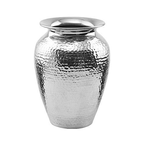 BUTLERS Oriental Lounge Orientalische Vase Höhe 21cm in Silber - Blumenvase aus Aluminium, gehämmert - Gefäß und Deko (Silber Vasen)