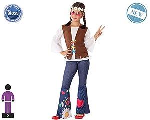 Atosa-60099 Atosa-60099-Disfraz Hippie-Infantil Niña, Color marrón, 7 a 9 años (60099