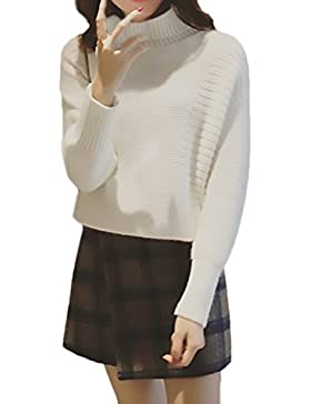 Jersey Mujer Invierno Manga Larga Cuello Alto Anchas Elegante Vintage Moda Hipster Calentar Punto Jerseys Sueter...
