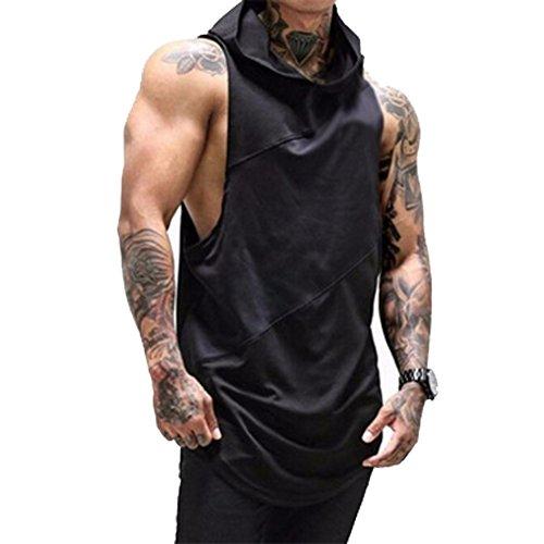 Karl Aiken Herren Ärmelloser Kapuzenpullover T-Shirt mit Kapuze Tank-Top aus Baumwolle Pullover und T-Shirt M-XXL Tops Herren (XL, Schwarz)