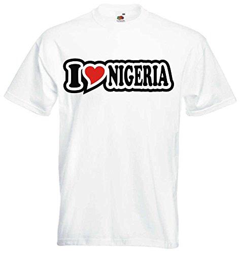 T-Shirt I Love Heart Herren I LOVE NIGERIA Weiß