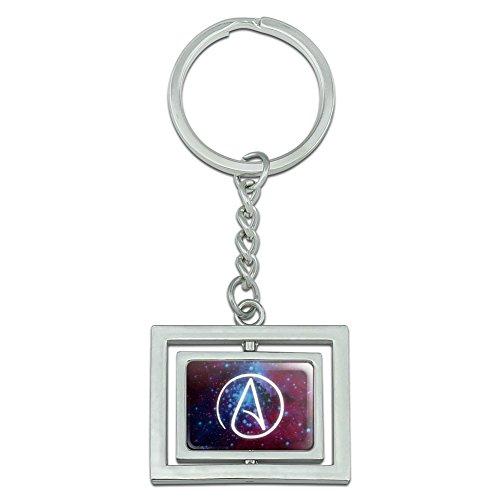 Atheist Atheismus Symbol in Space Spinning Rechteck verchromtem Metall Schlüsselanhänger Ring