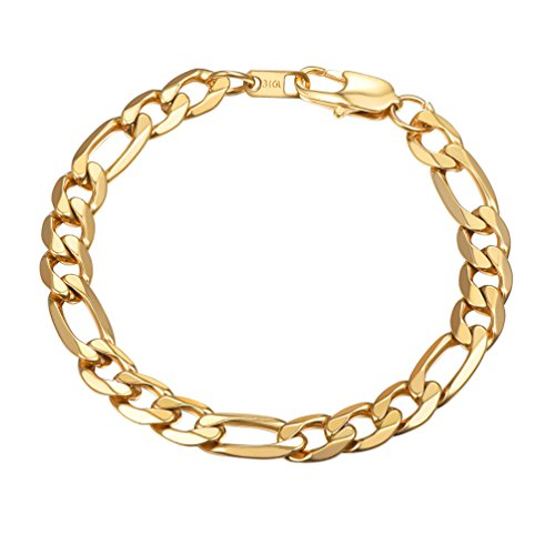PROSTEEL Herren Armband 9mm glänzend Edelstahl Figarokette Armband 3+1 Gold Glieder Link Kettenarmband Armkette Armreif, Länge 21cm