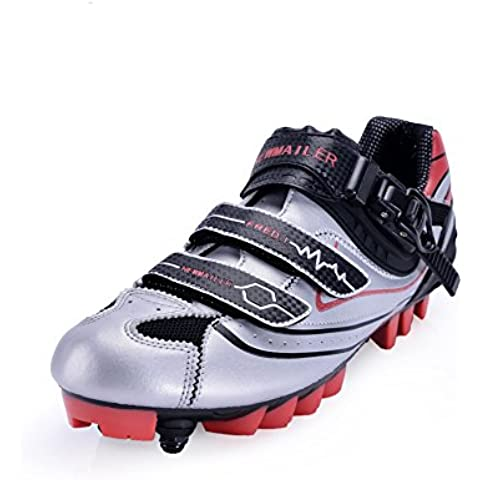 Wonderfully Zapatos de ciclismo Unisex Ultralight transpirable Road Riding Lock zapatos para ciclismo de bicicletas de deporte y competiciones (negro y rojo) (negro y rojo, 39 UK)