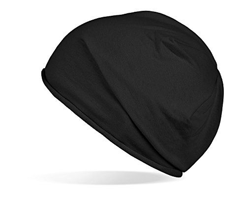 Tarjane Trendige leichte und dünne Jersey Beanie - Unisex - für Damen und Herren Schwarz OneSize