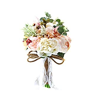 Rrunzfon Decoración de la Boda de Novia Ramo Artificial paño de Seda de Boda de Flores del Ramo de la Flor de Rose Simulación Ministerio del Interior Rojo Tipo 1
