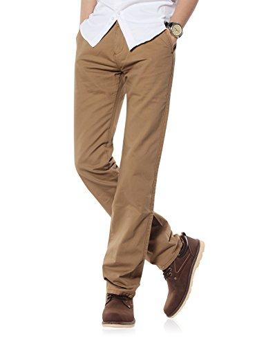 Demon&Hunter Men's Regular-Fit Dark Khaki Chino Trousers S90L4