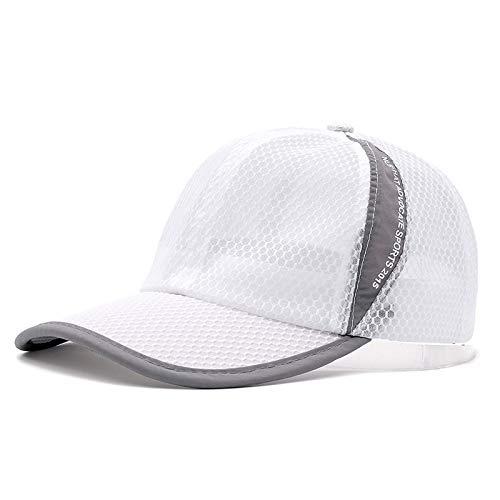 BKILF Baseball Cap Unisex-Sommer-atmungsaktive Baseballmütze Simple Hat Cap Mehrfarbige Netzkappe, Weiß