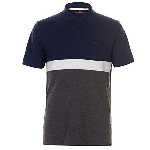 Pierre Cardin Hombre Piqué Polo Panel Diseño 100% Cotton con Bordado de Firma (XL, Navy/Charcoal)