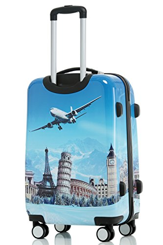 Reisekoffer 2060 Hartschalen Trolley Kofferset in 12 Motiven SET--XL-L--M-- Beutycase (Flug, 3er Set(XL+L+M)) - 3