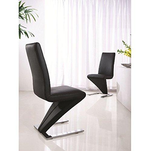 Set di 4 sedie in pelle e base cromata, stile moderno, a forma di Z, (Pelle Reception Nero Sedia)
