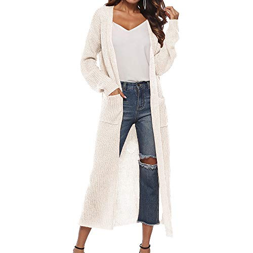 Vertvie Damen Mantel Langarm Open Front Cardigan Strickjacke Asymmetrisch Schnitt Strickmantel Langshirt mit Taschen (EU M/Etikettengröße L, Weiß)