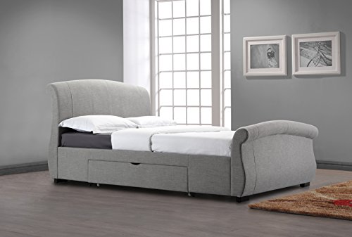 5FT KINGSIZE FABRIC DESIGNER SLEIGH STYLE 2 DRAWER STORAGE BED FRAME IN GREY