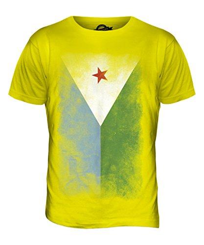 CandyMix Dschibuti Verblichen Flagge Herren T Shirt Zitronengelb