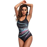 10c0a21d3da87 VENMO Women Plus Size One Piece Monokini Swimwear Ladies Sporty Tummy  Control Push Up Padded Swimsuit