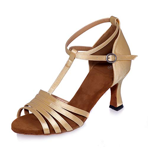 ZM-Shoes Donna Fibbia Cinturino A T Sandali Punta Aperta Scarpe Da Ballo Latino, Moderno Social Tango Ballroom Sandali Feste Di Matrimonio,D'oro,38