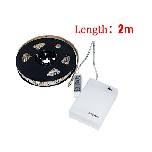 TEQIN 200CM 5050 Wasserfest IP65 RGB LED Streifen Lichter mit Batterie Box Lampe 4.5V für Heim Außenbereich Beleuchtung Handwerk Hobby Licht Dekoration (Led Outdoor Streifen-lichter)
