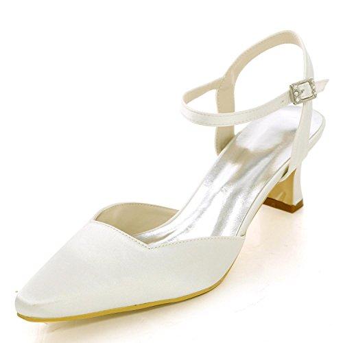 L@YC Damen-Hochzeitsschuhe 0723-16 Low Heels Closed Toe Satin Schnalle Brautjungfer Größe, Ivory, 41 Low Heel Satin-heels