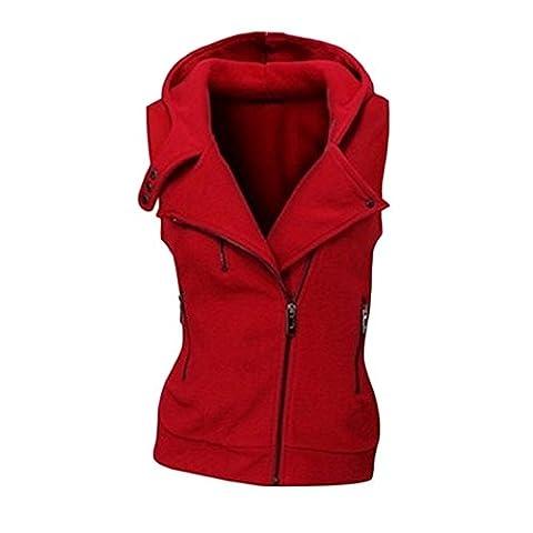 Fashion Women Hoodies Sweatshirt Zipper Bomber Sleeveless Vests Jacket Outwear Zipper Buttons Tops Plus Size (L,
