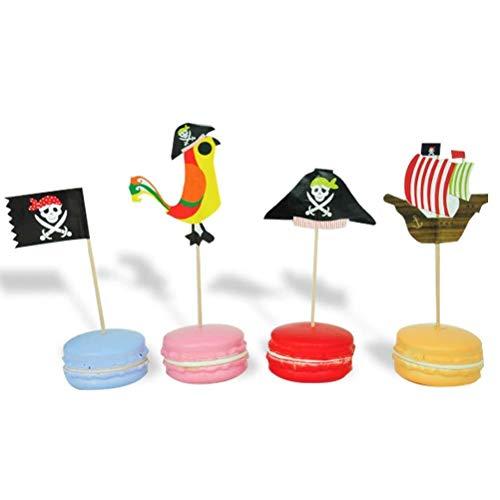 Ljlpropyh Kuchenzubehör Cupcake 60 stücke Piraten Cake Topper Muffin Lebensmittel Obst Picks Kuchen Kuchen Backen Dekorieren Tools for Halloween Birthday Party Supplies