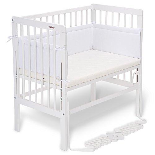 FabiMax Beistellbett BOXSPRING weiß, inkl. Matratze COMFORT und Nestchen Amelie weiß (Baby-möbel Weiß)