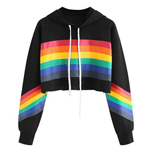 AMUSTER Damen Langarmshirt Hoodie Crop Pullover Tops Sweater Sweatshirt Frauen Kapuzenshirt Pullover Rainbow Print Sweatshirt Bluse Tops -