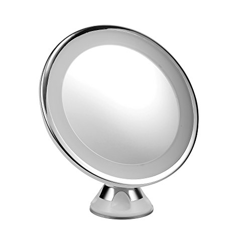 eLander LED Kosmetikspiegel Beleuchtet mit 10-facher Vergrößerung und Saugnapf-Grundplatte, 360°...