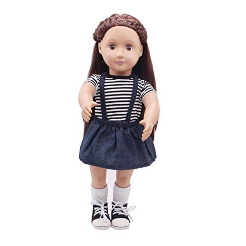 Puppenkleider Kleid Stripe Strap Kleid Outfit Kleidung Set für 18 '' American Girl Unsere Generation Puppe Mädchen vorgeben Spielen Spielzeug Geschenke (Marine, Passend für 18 Zoll Puppen)