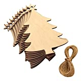 zanasta 10 Stück Weihnachten Holzanhänger zum bemalen, Weihnachtsbaum Deko aus Holz Tannenbaum