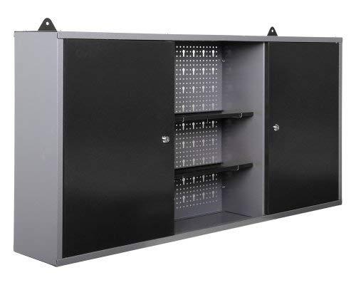 Ondis24 Werkstatteinrichtung grau Werkbank Werzeugschrank Euro – Lochwand mit Hakensortiment 120 x 60 x 202 (H) cm - 6