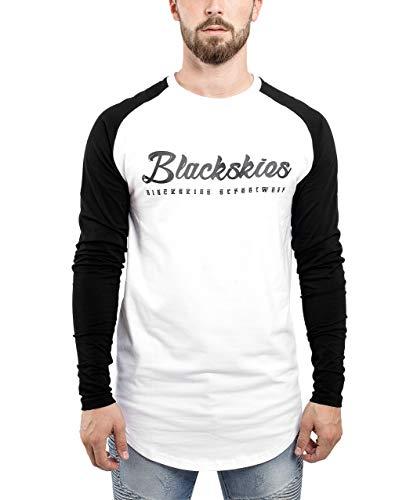 Blackskies Clouds Baseball T-Shirt Weiß-Schwarz Longsleeve Herren Longshirt Langarm Print BS - X-Large XL -