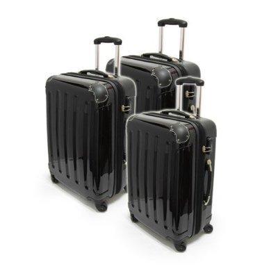 3-tlg. Hartschalen-Kofferset aus Polycarbonat - Trolley Koffer Reisekoffer in SCHWARZ