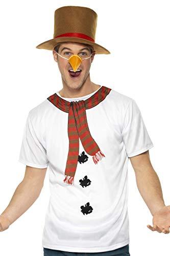 Smiffys, Herren Schneemann Sofort Kit, T-Shirt, Hut und Nase, Größe: M, 38936 (Schneemann Kostüm Kit)