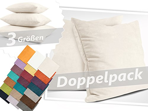 Kissenhüllen in Wildleder-Optik - angenehm weich & überaus robust - in 21 fantastischen Farben und 3 Größen (14 Farben in 60 x 60 cm), Doppelpack Kissenhüllen 50 x 50 cm, creme