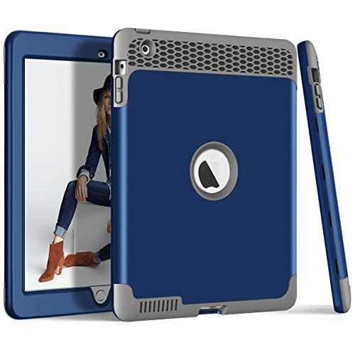 ZERMU 3-in-1-Schutzhülle für iPad 2, iPad 3/4, strapazierfähig, stoßfest, Hartplastik, stoßfest, stoßfest, Silikon-Gummi-Schutzhülle, für iPad 2/3/4, Navy-Gray (Griffin Survivor 4 Case Ipad)