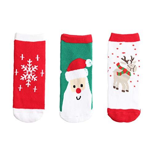 y Kleinkind Jungen Mädchen Baumwolle Socken Verdickt mit Frottee Super Warm für Herbst Winter - Weihnachten Thema Pattern für 1-3 Jahre alt ()