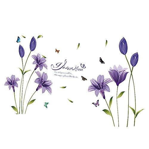 Gysad Patrón de flores Vinilos decorativos pared DIY Decoracion hogar Multicolor Cuadros modernos baratos size 60 * 90cm (Púrpura)