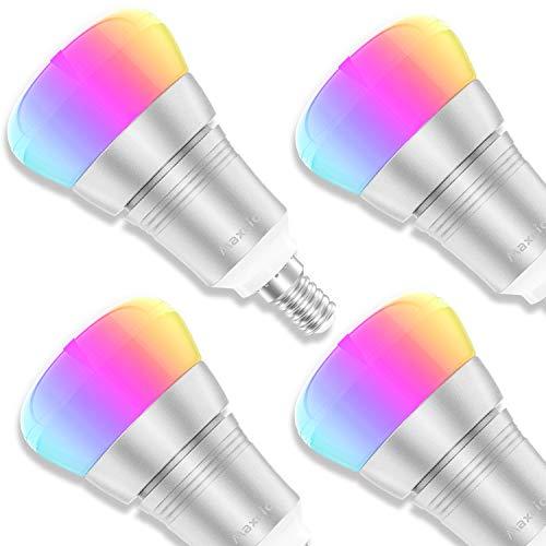 Smart Alexa Lampe, Maxcio Wifi Led Glühbirne, [9W E14], Kompatibel mit Amazon Alexa und Google Home, Fernsteuerung via App, Timing Funktion, Buntes und Dimmbares Licht, 8 Szene-Modus - 4 Packs