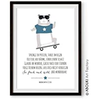 ABOUKI Kunstdruck - ungerahmt - mit Bär und Skateboard, personalisierte Geschenk-Idee mit Wunschnamen
